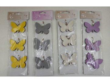 Motýlek dekorační | na zavěšení | sada 3ks (Barva žlutá)