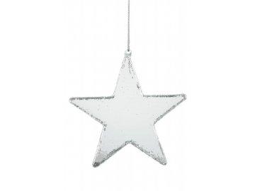 Skleněná hvězda ozdoba k zavěšení