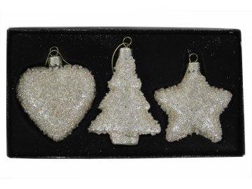 Vánoční skleněné ozdoby|zlaté|sada 3kusů