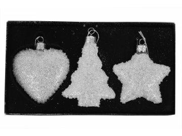 Vánoční skleněné ozdoby|bílé|sada 3kusů
