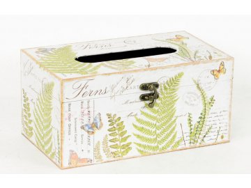 Krabička na papírové kapesníky   dřevěná   plátno s potiskem kapradí
