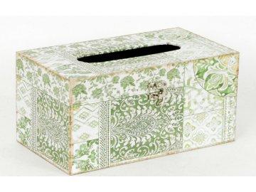Krabička na papírové kapesníky   dřevěná   plátno s vzorovaným potiskem
