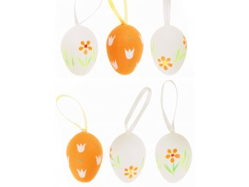 Velikonoční vajíčka | plastová | oranžová | na zavěšení | 6ks | 4cm