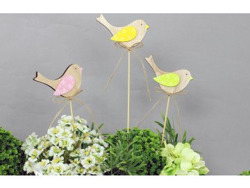 Ptáček | dřevěná dekorace | zápich | sada 2ks (Barva žlutá)