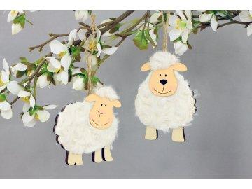 Ovečka| dřevěná dekorace s plyšem | přírodní | set 2ks