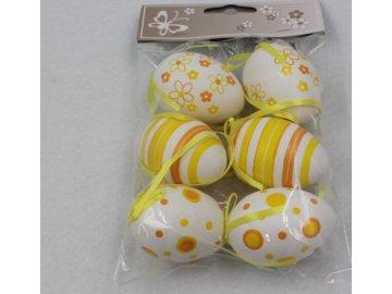 Vajíčka velikonoční | plastová | 6ks | žlutobílé