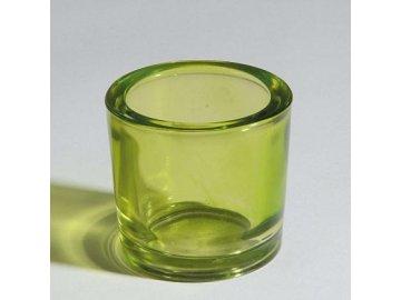 Svícen sklo zelené 6,5x6cm