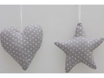 Látkové srdíčko a hvězda | šedá s puntíky