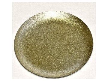 Skleněný tác 25 cm, zlatý s perletí