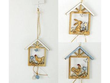 Doměček | dřevěná dekorace na pověšení (Provedení Zajíček)