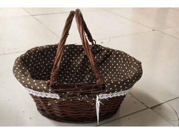 Košík proutěný s látkou   kulatý   dekorační