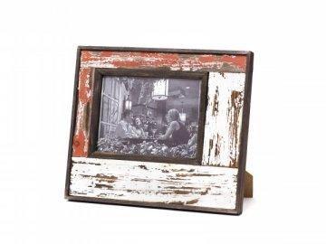 Fotorámeček | červeno-bílý | patina | 28x33x3cm