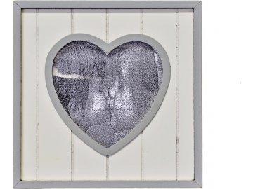 Dřevěný fotorámeček se srdíčkem | bílý