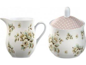 Mléčenka a cukřenka | porcelánová | Cottage Flower
