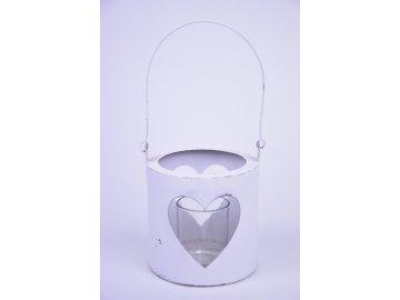 Lucerna srdce bílá 12x14cm