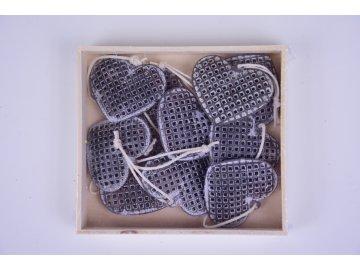 Srdíčko mřížkované šedé závěsné 4x3x0,5cm