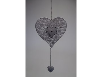 Srdce se srdíčky na řetízku 31x14,5x0,5cm