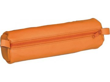 Školní penál | Alassio | Kulatý | kožený | oranžový
