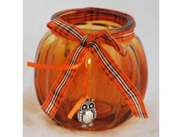 Oranžový skleněný svícen se sovičkou
