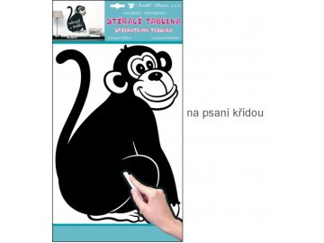 Samolepka tabulka na psaní křídou opice 49x29cm