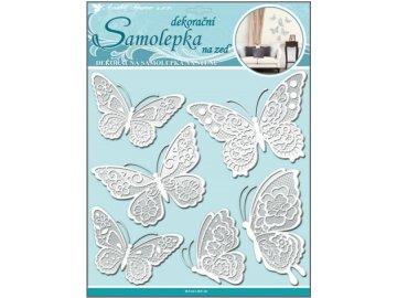 Samolepka na zeď motýli s bílými krajkovými křídly 40x31cm