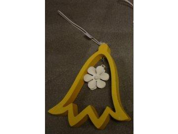 Závěsný tulipán s kytičkou žlutý 13,5x12x1,5cm