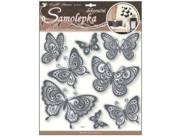 Samolepky na zeď motýli s černou glitrovou konturou