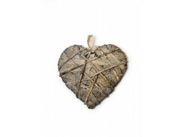 Srdce omotané šedé střední 25x25x4cm