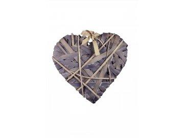 Srdce omotané šedé velké 30x30x4cm
