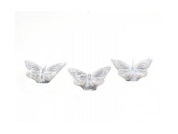Svíčka motýl | šedý | malý box 3ks | 7x5x2cm