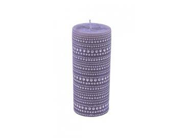 Svíčka | šedá s krajkovým vzorem | 6,5x15cm