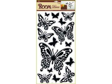 Samolepky na zeď motýli černí 69x30cm