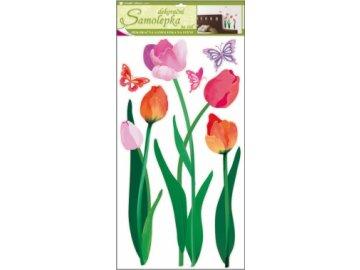 Samolepky na zeď barevné tulipány 69x32cm