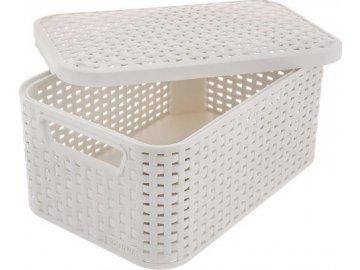 Úložný box   Curver   Krémový   Ratan Style2   s víkem   velikost S