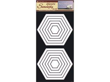 Samolepky na zeď šestiúhelníky bílé 69x32cm
