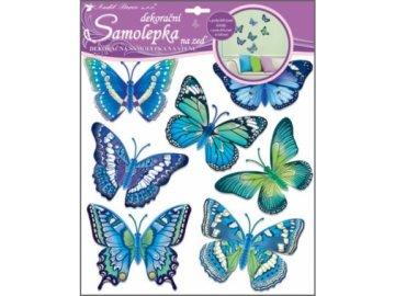 Samolepky na zeď modří motýli 38x31cm