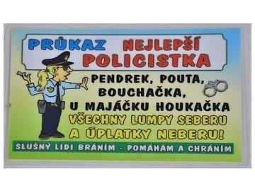 Dekorace | zalaminovaná cedulka | průkaz nejlepší policistka