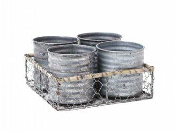 Košíček hranatý s kalíšky 4ks 19x19x6cm