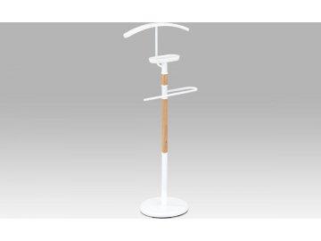 Němý sluha | stojan na oblečení | bílý kov/dřevo přírodní | 45x30x111cm