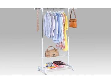 Stojan na šaty s poličkou a odkladačem na boty | chrom / bílá | 84-133x43x94-165