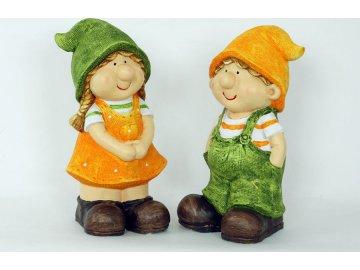 Děvčátko a chlapec | magneziová keramika | 20x19x39cm