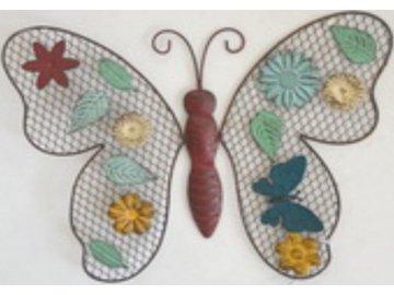 Nástěnná kovová dekorace | barevný motýl | 34x26cm