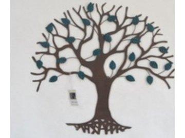 Nástěnná kovová dekorace | stromy | barva černá matná | 64x64cm
