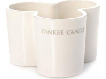 Svícen skleněný | Yankee Candle | Trojlístek | na 3 svíčky | mléčné sklo