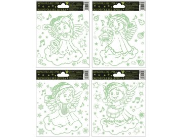 Okenní fólie andílek  svítící ve tmě 18x15cm set 4ks