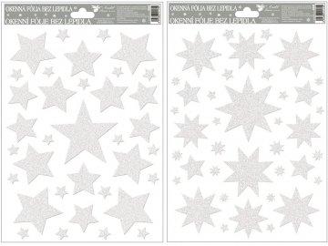 Okenní fólie | bílé hvězdy s glitry | 30x20cm | 2 provedení