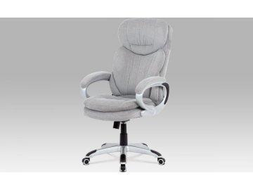 Kancelářská židle, šedá látka/plast stříbrný/houpací mechanismus