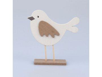 Dekorace ptáček hnědý 10x10,5x2,5cm