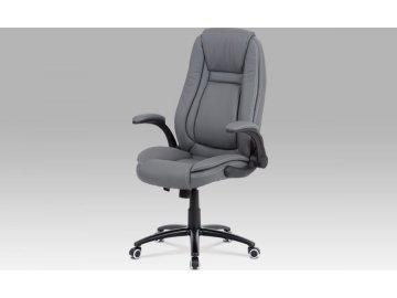 Kancelářská židle, šedá ekokůže, kříž kov černý, houpací mechanismus