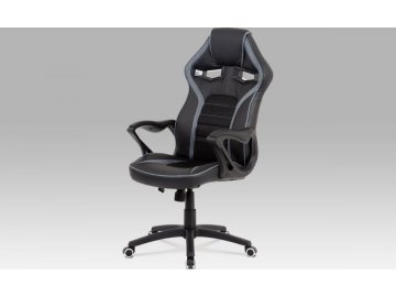 Kancelářská židle, černá látka + MESH, šedá MESH, kříž plast černý, houpací mech